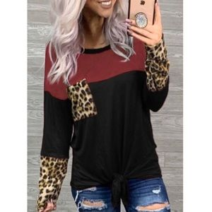 🐆2 LEFT: Smalls•Black Color Block Leopard Tie Top